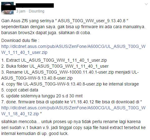 Cara Update Firmware ASUS Zenfone 6 Versi 9.13.40.8 WW