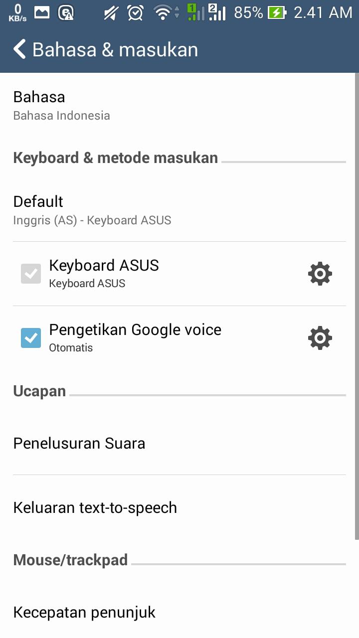 Cara Menonaktifkan Fitur Saran Kata (suggestion/word prediction) Pada keyboard ASUS