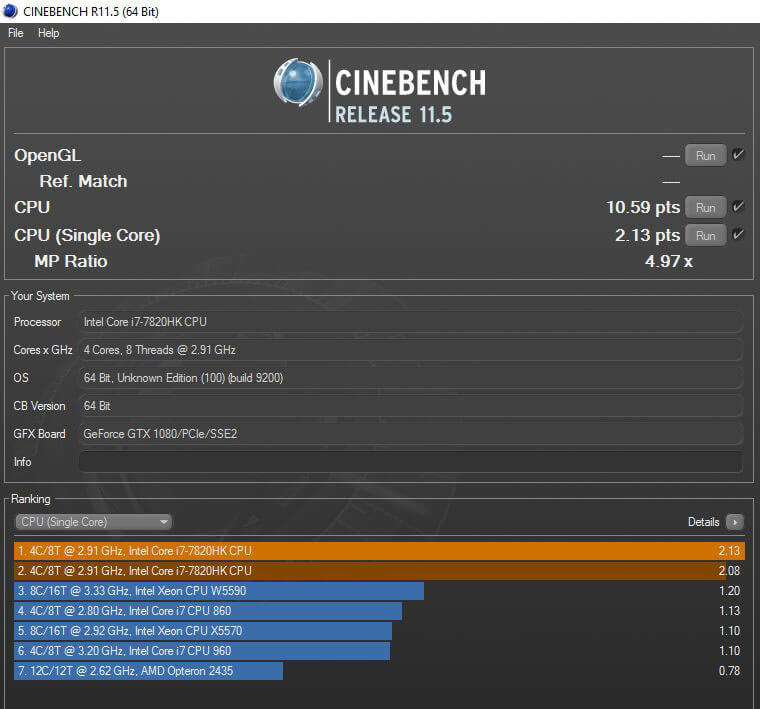 Review ASUS ROG GX800 - Benchmark Cinebench CPU Test