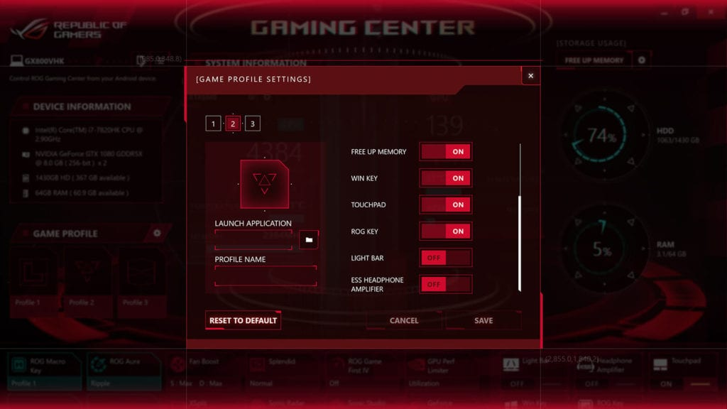 Review ASUS ROG GX800 - Game Center - Game Profile Setting
