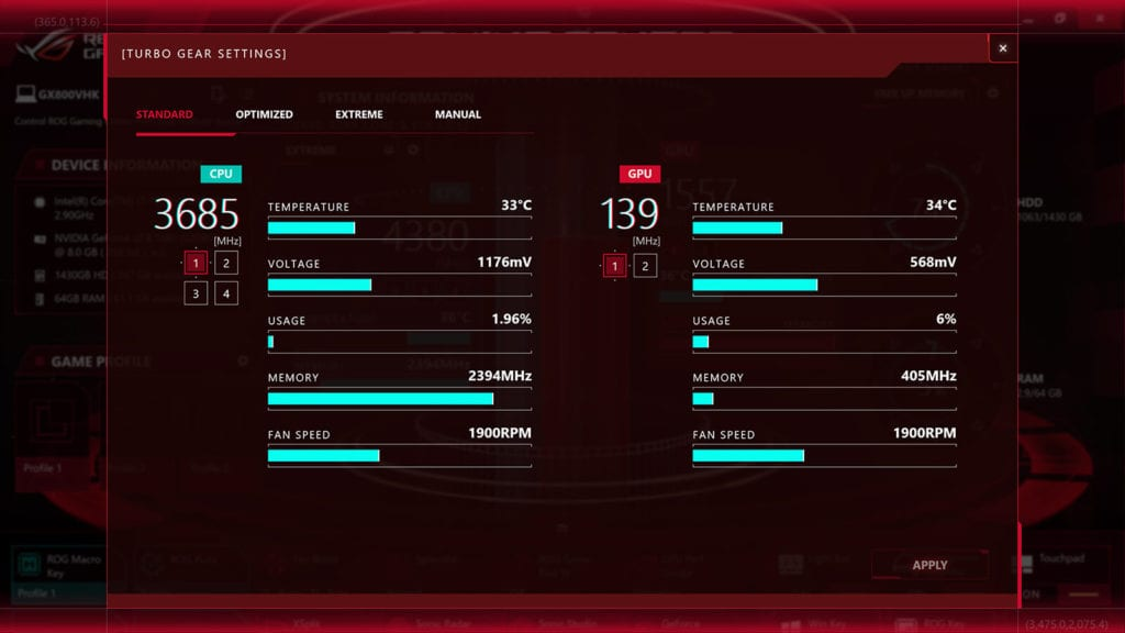 Review ASUS ROG GX800 - Game Center Turbo Gear Setting