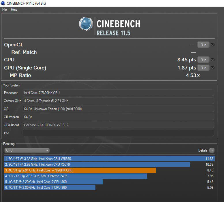 Review ASUS ROG GX800 - Standar Benchmark Cinebench 11
