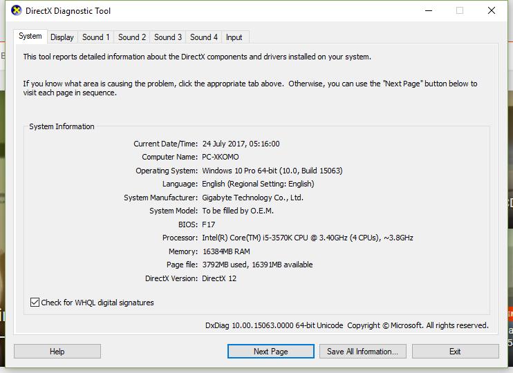 DXDiag PC X KOMO