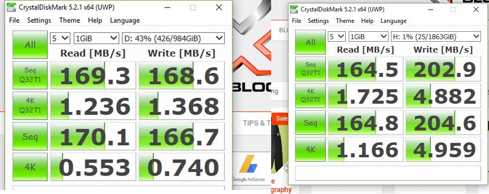 HDD VS Seagate Firecuda CrystalDiskMark