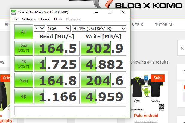 Benchmark Write / Read CrystalDiskMark - File 1GB