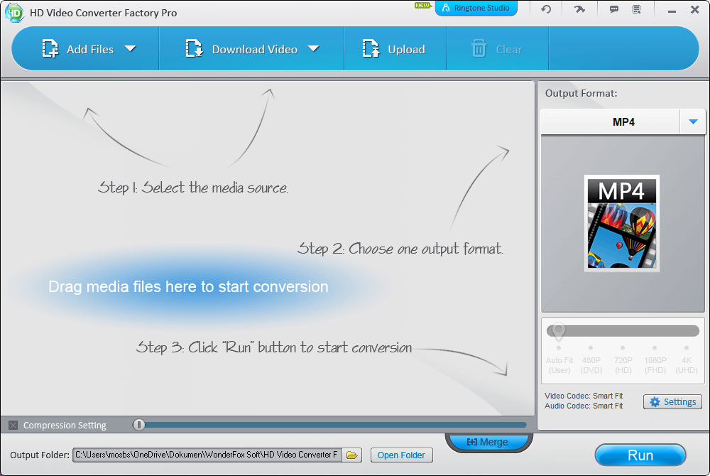 Tampilan Aplikasi HD Video Converter Factory Pro