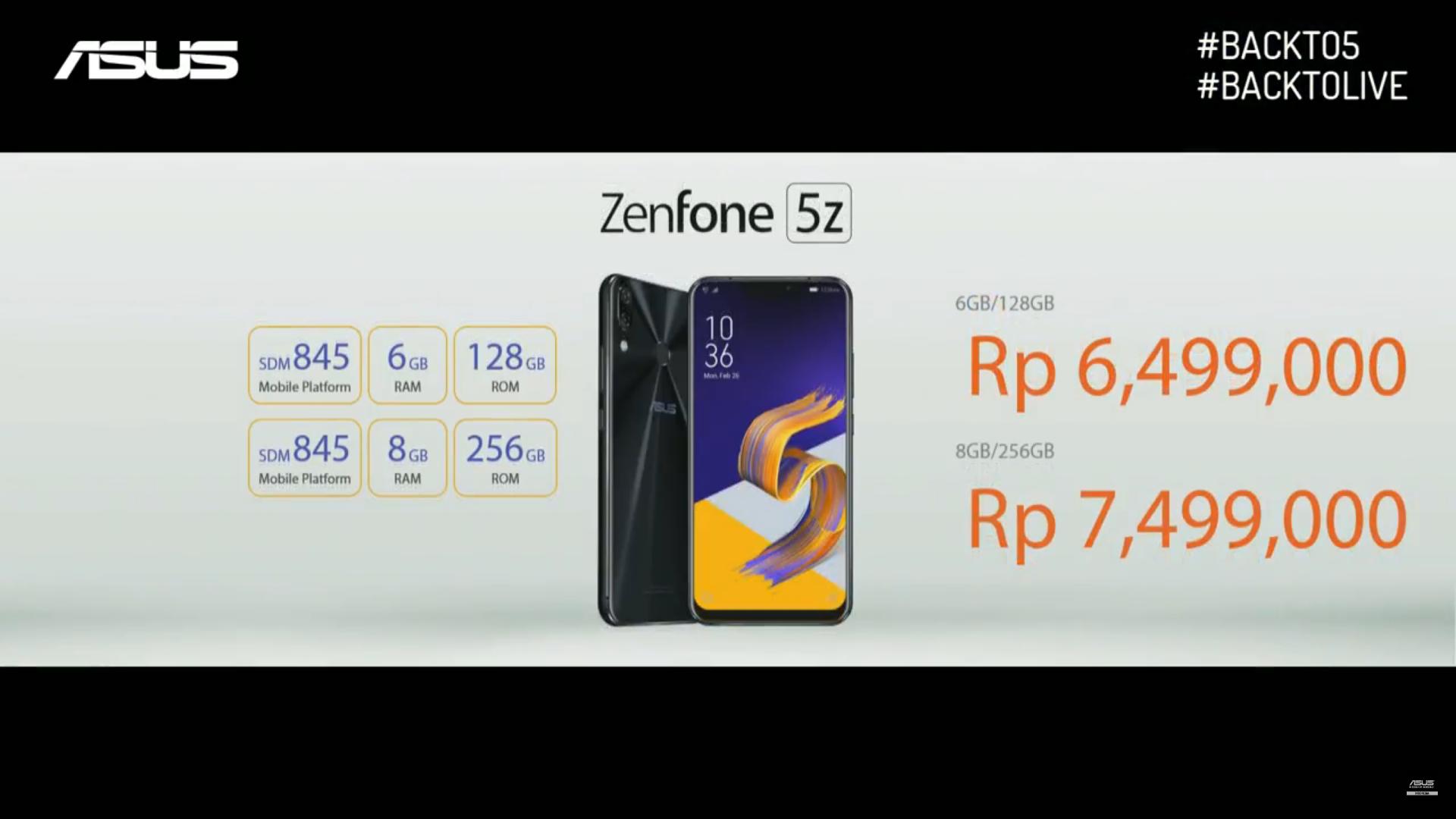Harga dan spesifikasi Zenfone 5z - Live Streaming