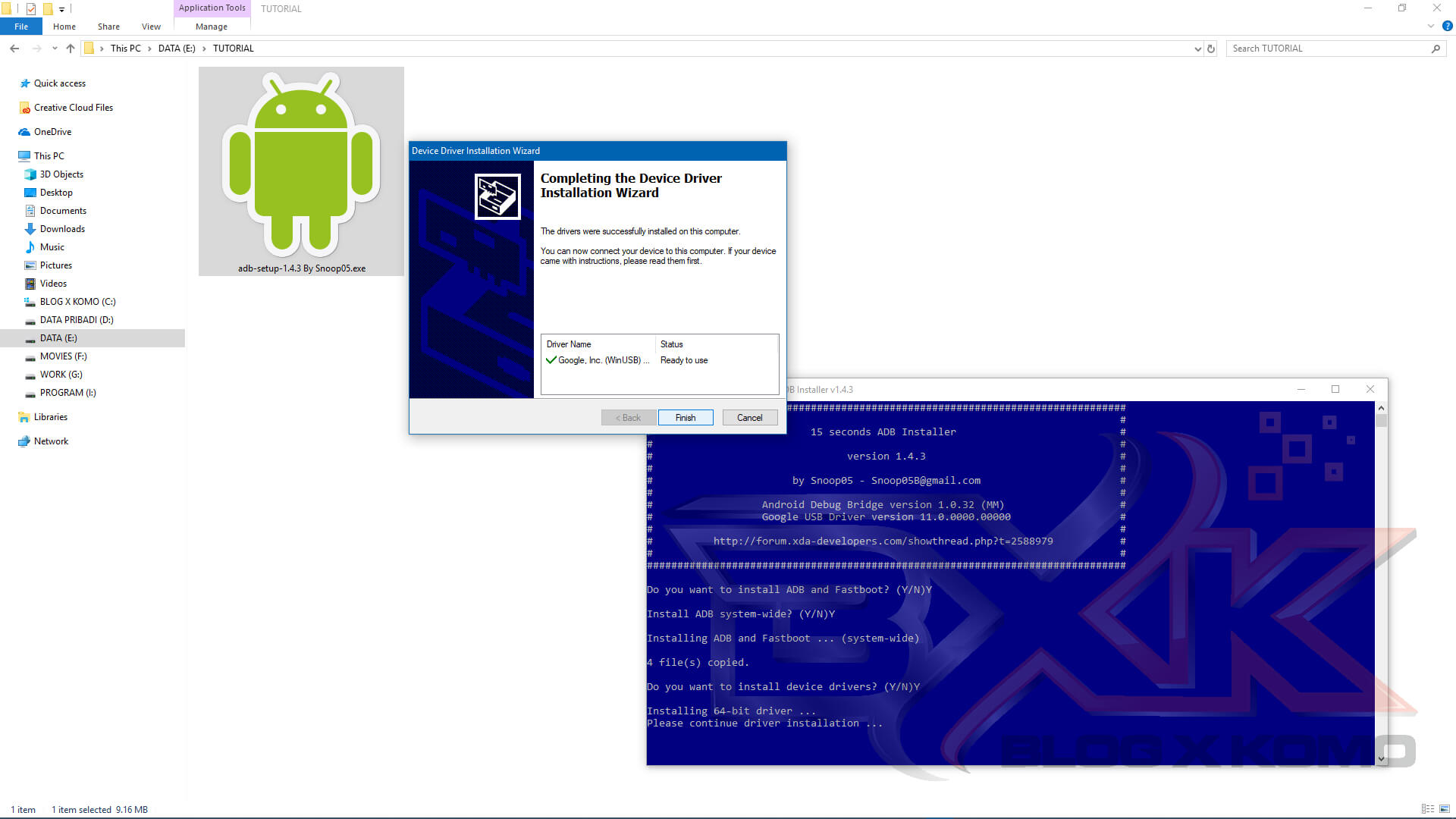 Download Minimal ADB Tools, Fasboot & Android USB Driver