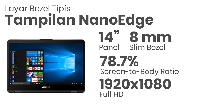 ASUS VIVOBOOK FLIP 14 TP410 - Tampilan NanoEdge