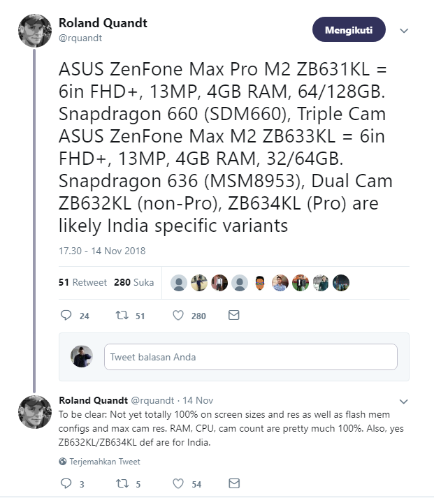 Bocoran Spesifikasi Zenfone Max M2 dan Zenfone Max Pro M2