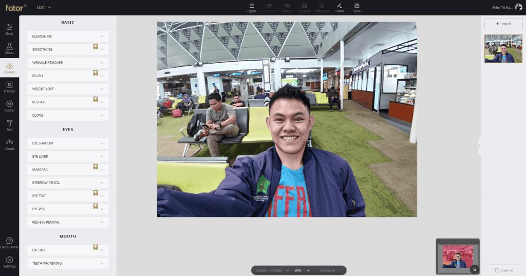 Review Fotor - Aplikasi Edit Foto Dan Desain Gratis - Fitur Beauty
