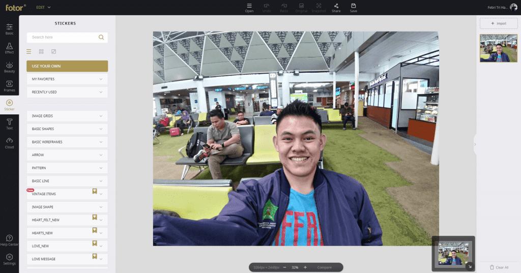 Review Fotor - Aplikasi Edit Foto Dan Desain Gratis - Fitur Sticker