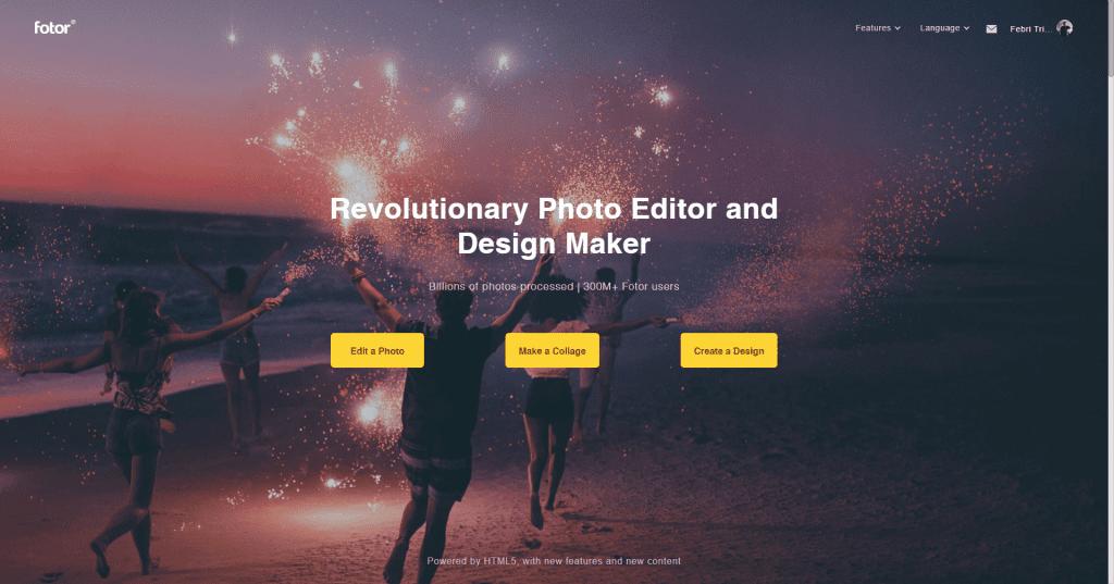 Review Fotor - Aplikasi Edit Foto Dan Desain Gratis - Halaman Login