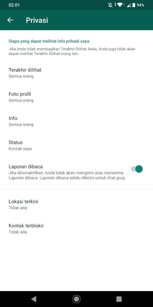 Cara Menonaktifkan Laporan Baca (Centang Biru) Di Whatsapp - Privasi