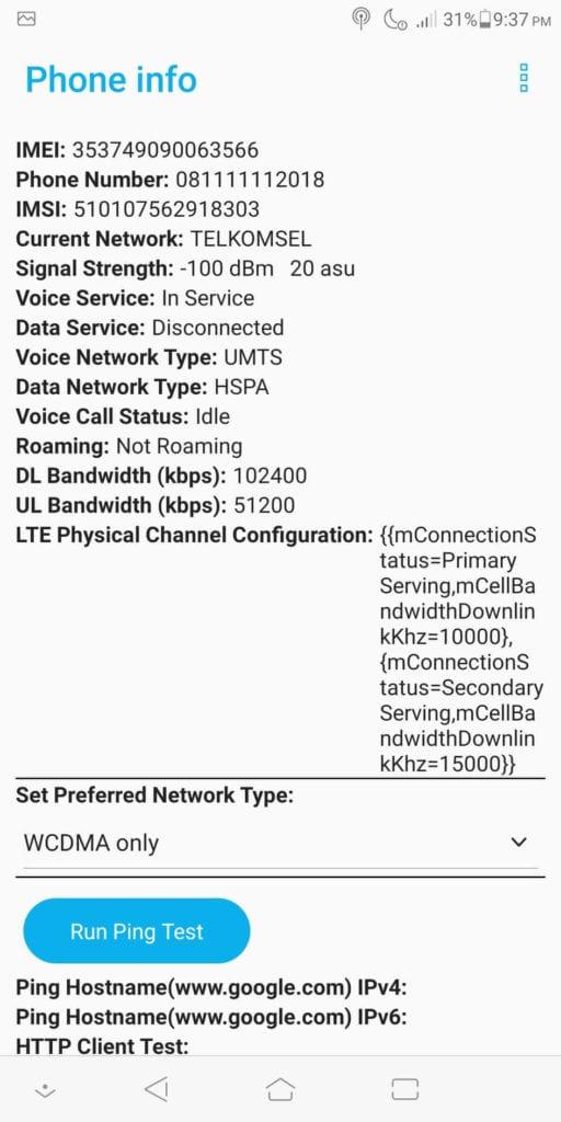 Cara Mengubah Jaringan 3G Ke 4G - WCDMA Only