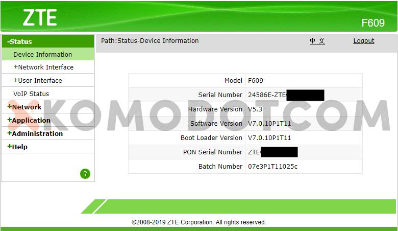 Cara Login Modem IndiHome ZTE F609 - Dashboard Menu