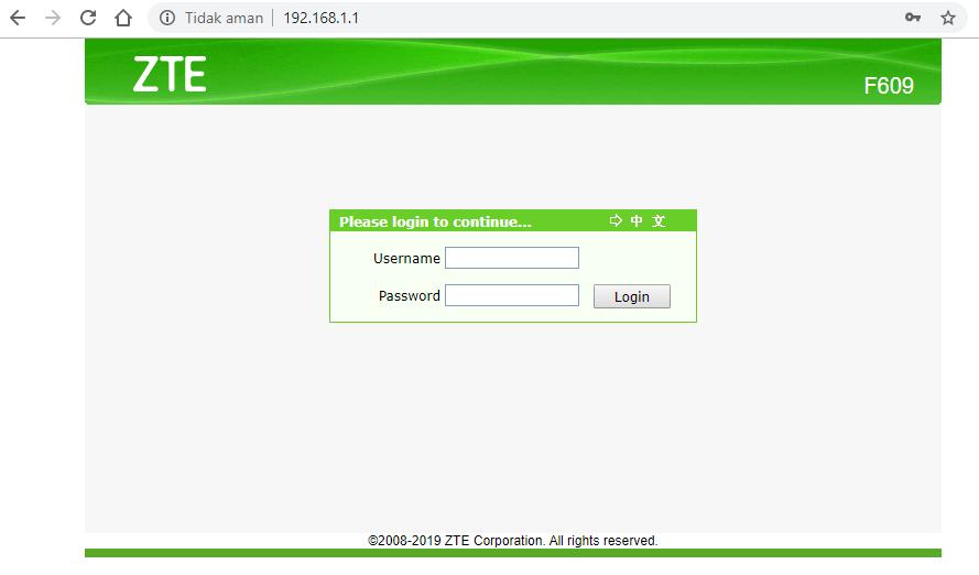 Cara Login Modem IndiHome ZTE F609 / F660 (Username & Password)
