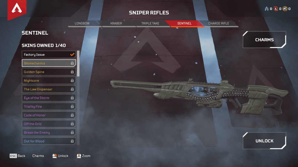 New Weapon Sentinel Sniper Riffle - Biomechanics Skin