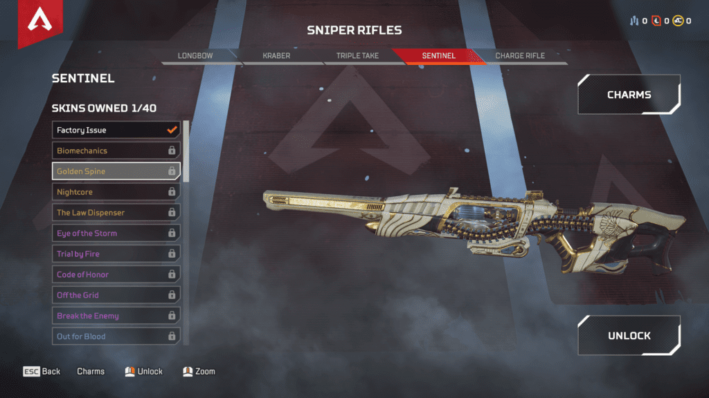 New Weapon Sentinel Sniper Riffle - Golden Spine Skin
