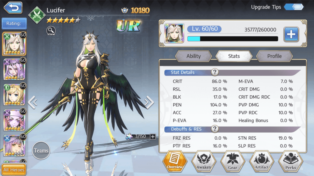 Goddess of Genesis - Status Details Lucifer