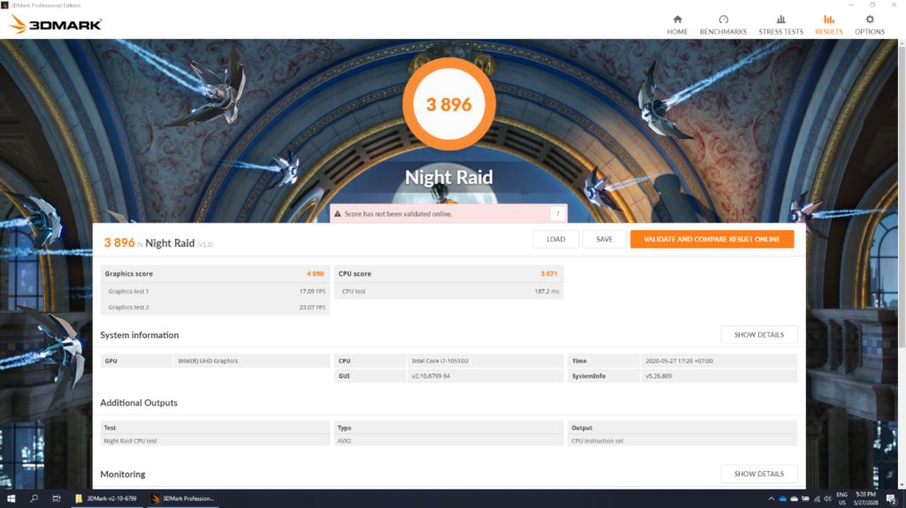 ASUS ExpertBook B9 B9450 - Benchmark GPU 3DMark Night Raid