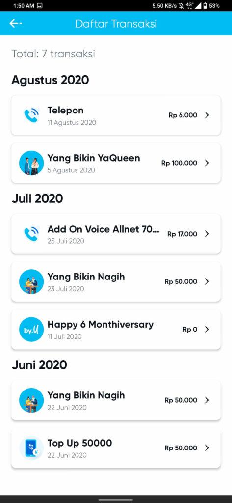 Daftar Transaksi di Aplikasi By.U
