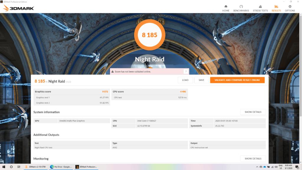ASUS ZenBook 14 (UX425) - BenchMark 3DMark Night Raid