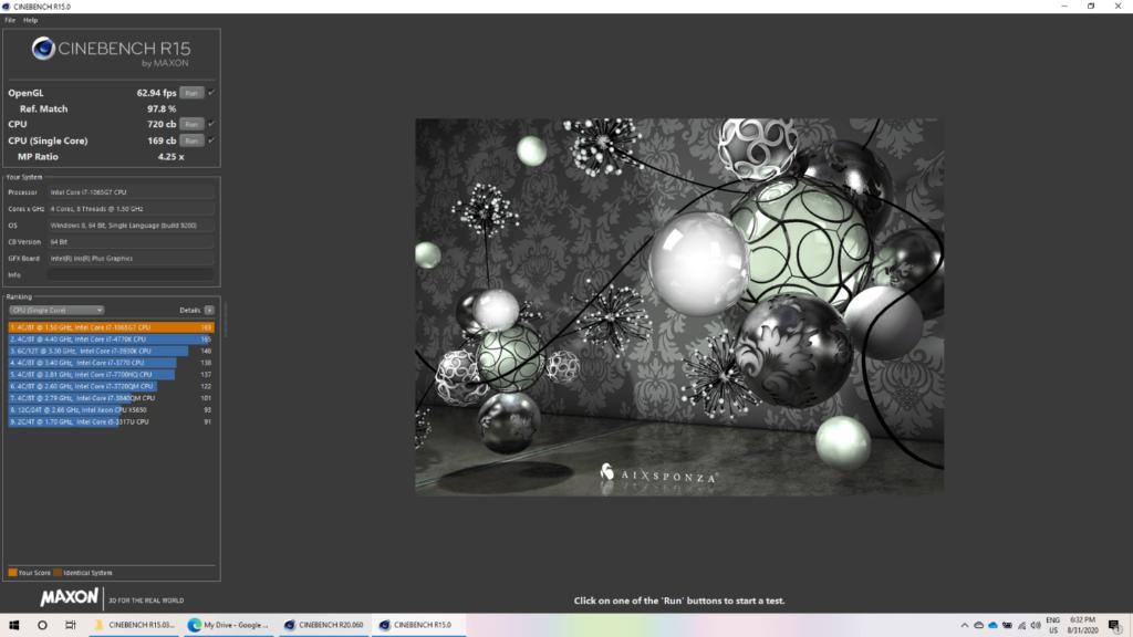 ASUS ZenBook 14 (UX425) - BenchMark Cinebench R15 CPU Intel Core i7 10TH GEN