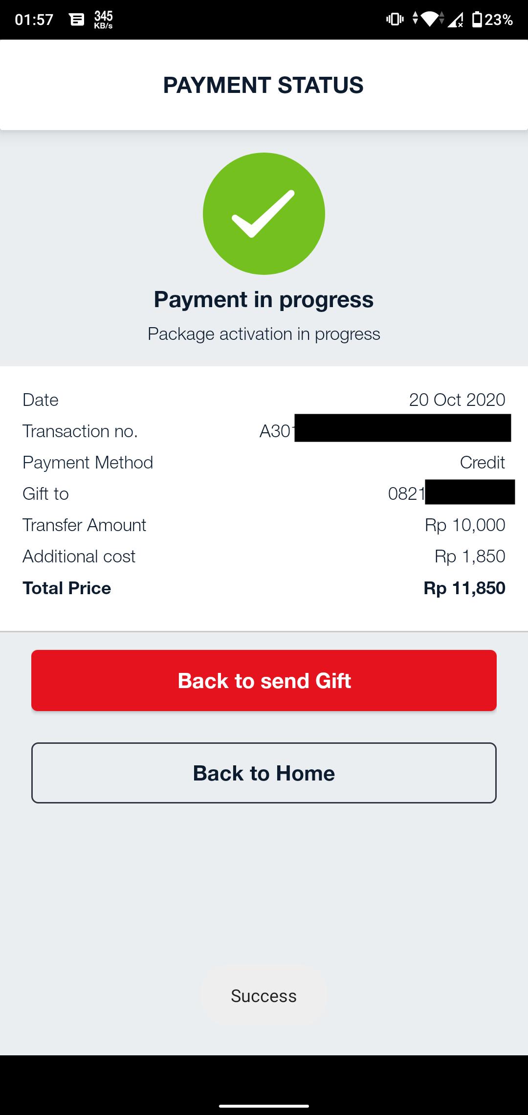 Berhasil Transfer Pulsa Telkomsel Melalui Aplikasi MyTelkomsel