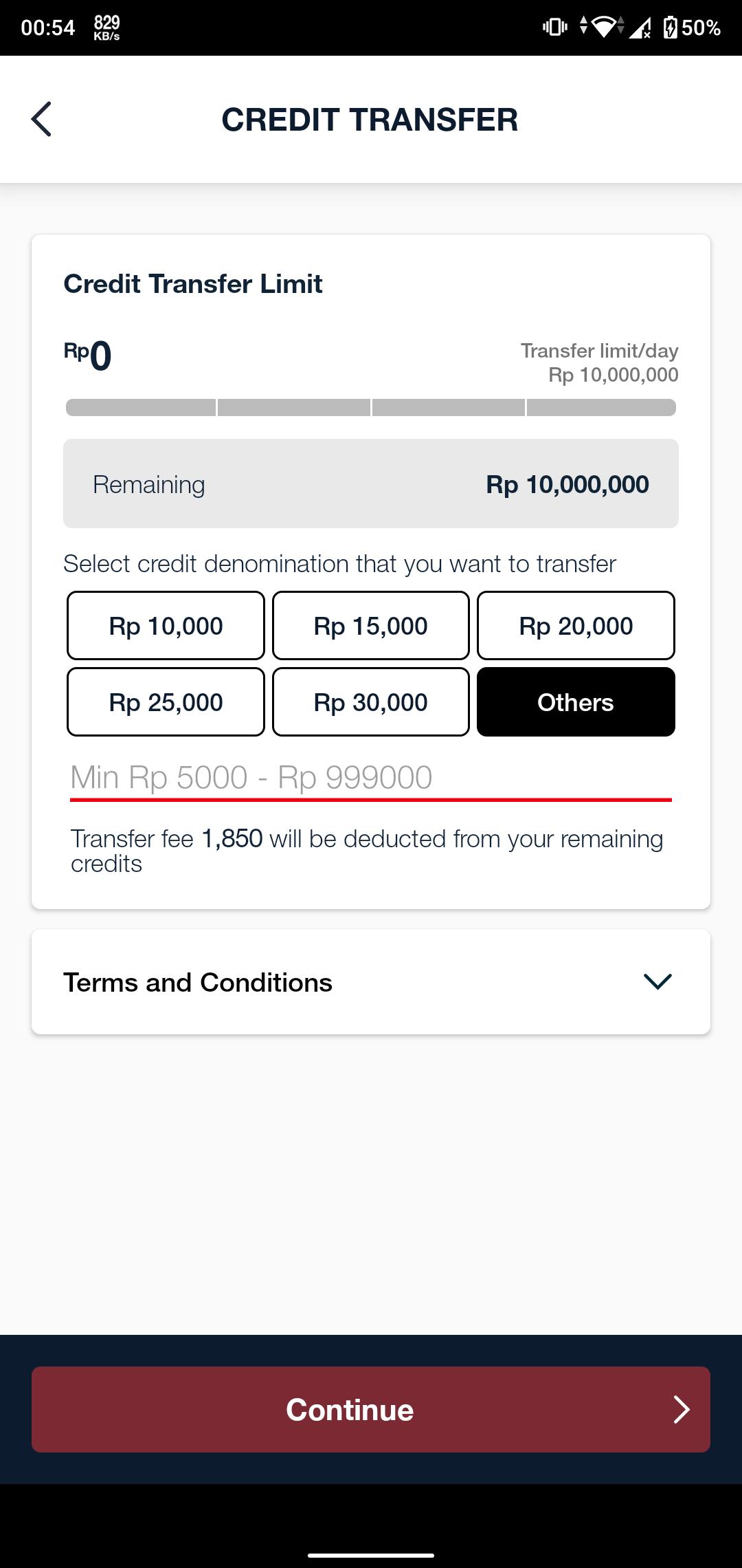 Isi Nominal Pulsa yang Ingin Ditransfer via MyTelkomsel App