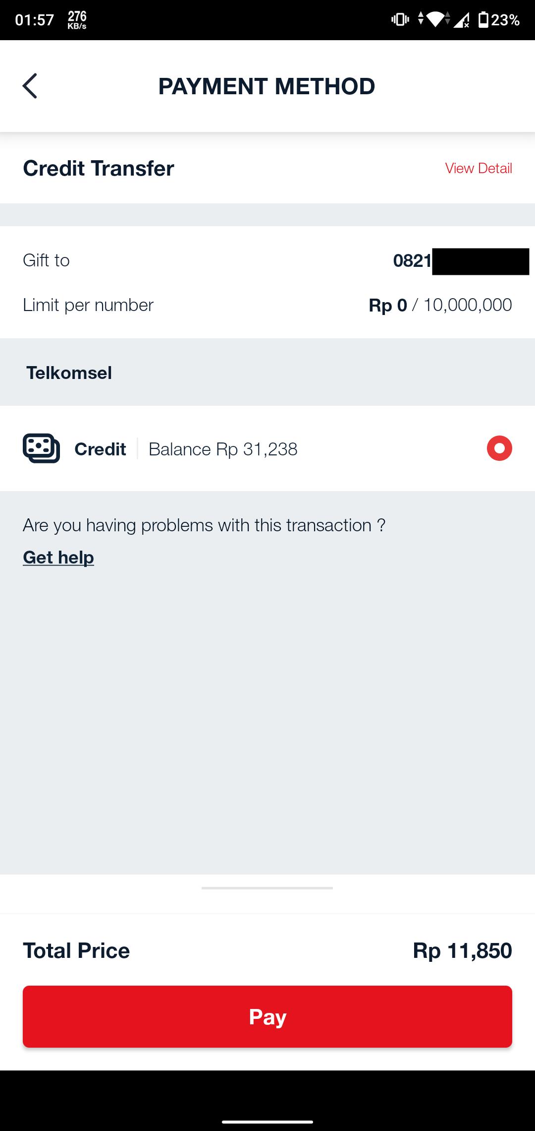 Konfirmasi Nomor Tujuan dan Nominal Transfer Pulsa Telkomsel
