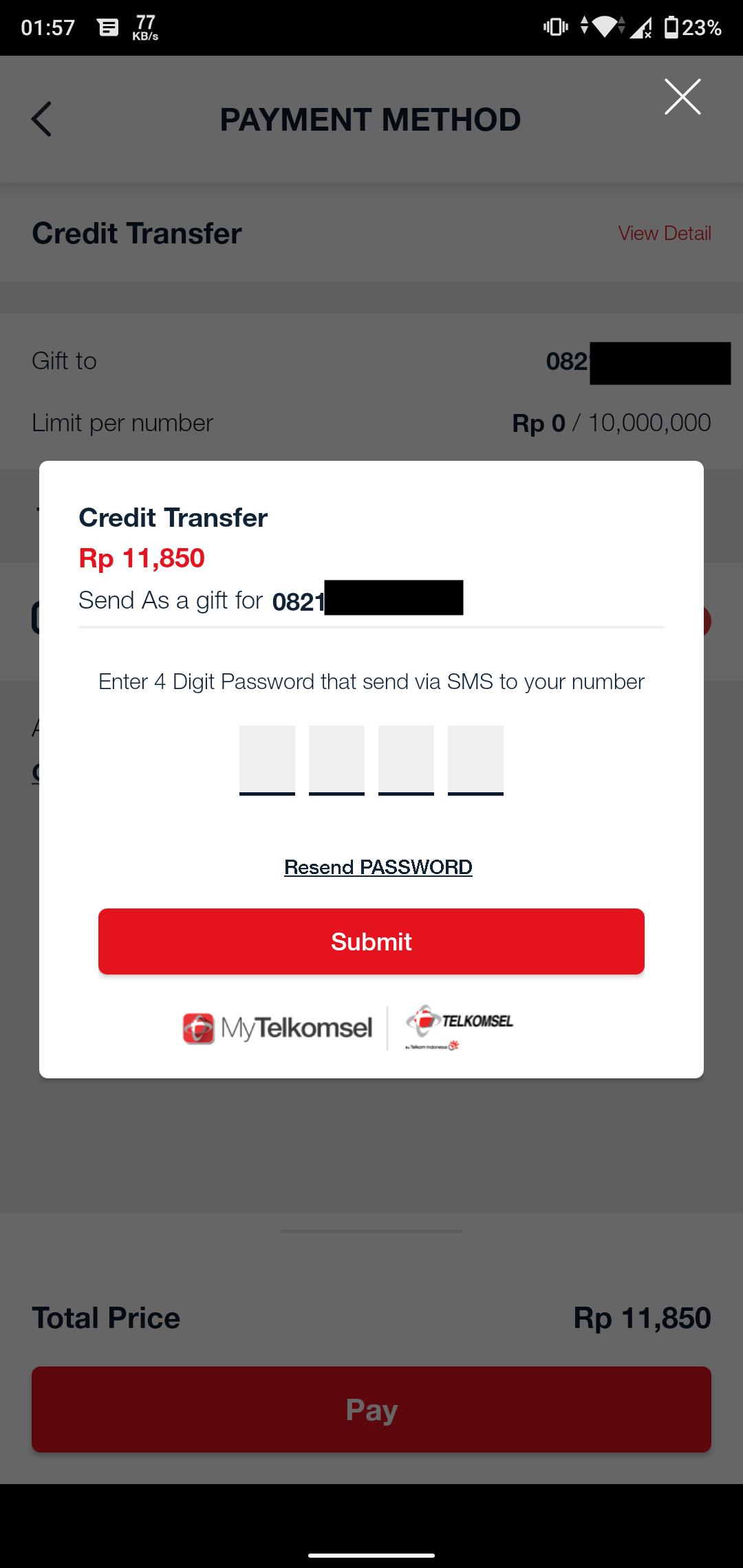Masukan Kode Verifikasi Transaksi Sebelum Transfer Pulsa Telkomsel