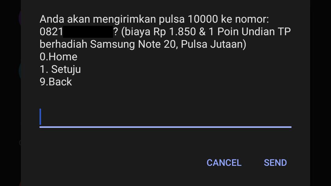 Notifikasi Menu Konfirmasi Transfer Pulsa Telkomsel