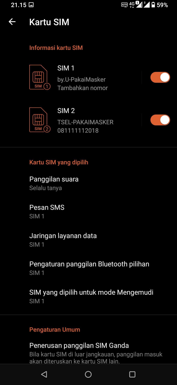 SIM Card 1 pada ASUS ROG Phone 3 ZS661KS Aktif Normal