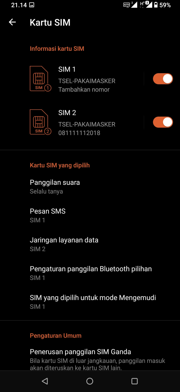 SIM Card 2 pada ASUS ROG Phone 3 ZS661KS Aktif Normal