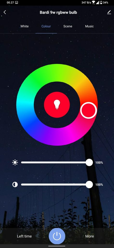 Review Bardi Smart Light Bulb 9W - RGBWW - Smart Life - Setting RGB