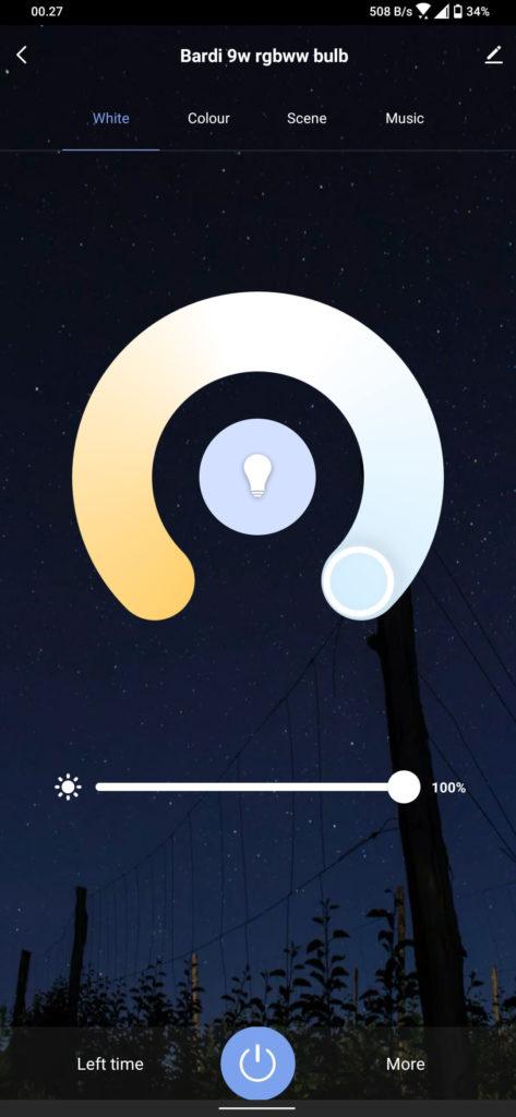 Review Bardi Smart Light Bulb 9W - RGBWW - Smart Life - White Colour